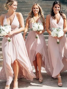 Simple A-Line Deep V Neck Open Back Pink Chiffon High Low Bridesmaid Dresses Under 100