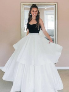 Charming A-Line Strapless Black and White Satin Long Prom Evening Dresses with Beading