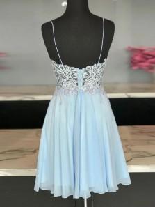 Stylish A-Line V Neck Spaghetti Straps Sky Blue Chiffon Short Homecoming Dresses with Appliques
