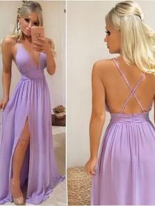 Cheap A-Line V neck Cross Back Lilac Chiffon Long Prom Dresses Under 100,Evening Party Dress with Slit