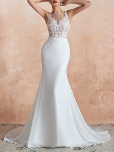 Exquisite Mermaid Boat Neck White Chiffon Wedding Dresses with Appliques