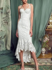Elegant Sheath Sweetheart White Lace High Low Wedding Guest Dresses