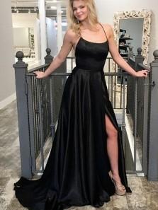 A-Line Scoop Neck Cross Back Black Satin Long Prom Dresses with Side Split,Evening Party Dresses