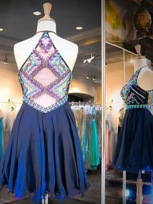 A-Line/Princess Sleeveless Two-piece Scoop Beading Tulle Short/Mini Dresses