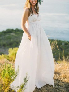 Modest A-Line Deep V Neck Open Back White Organza Long Wedding Dresses with Pockets