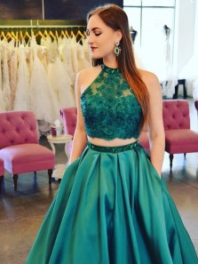Chic Two Piece Halter Dark Green Satin Open Back Long Prom Dresses with Lace Pockets,Charming Evening dresses