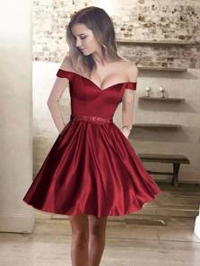 A Line Off Shoulder Burgundy Short Graduation Dresses/ Homecoming Dresses HC0052