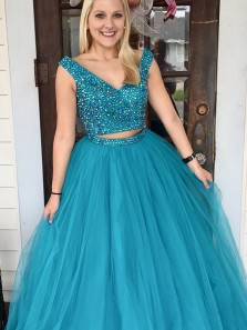 Charming A-Line Two Piece Royal Blue Tulle Long Prom Dresses with Beading,Quinceanera Dresses