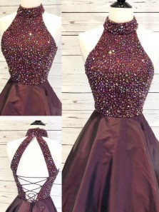 A-Line Halter Open Back Grape Beading Short Homecoming Dresses with Pockets,Short Prom Dresses