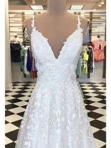 Elegant A-Line Sweetheart White Lace Long Prom Dresses,Formal Evening Party Dresses