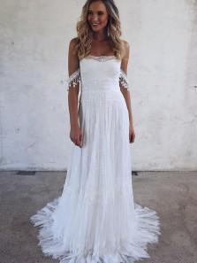 Unique A-Line Off the Shoulder Open Back White Lace Wedding Dresses with Train