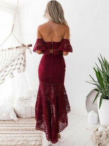 Chic Two Piece Off the Shoulder Open Back Burgundy Lace High-Low Prom Dresses,Charming Evening Party Dresses