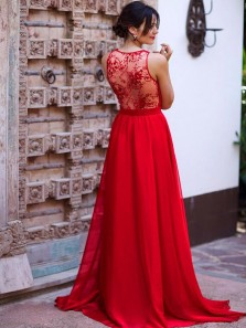 Charming A-Line Low Cut Red Chiffon Long Prom Dresses with Lace,Elegant Evening Party Dresses
