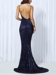 Sexy Mermaid V Neck Spaghetti Straps Backless Navy Blue Sequin Long Prom Dresses,Evening Dresses 2019