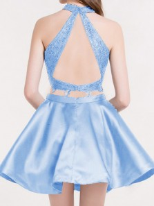 Two Piece Halter Open Back Blue Satin Short Homecoming Dresses with Appliques,Back to School Dresses