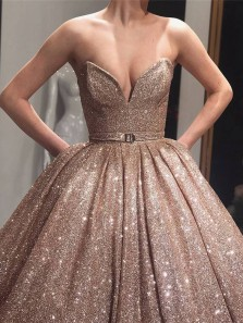 Gold Sequin Ball Gown Sparkly Long Evening Prom Dresses, Evening Party Prom Dresses,Quinceanera Dresses,Sweet 16 Party Dresses