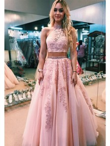 Charming A-Line Two Piece Halter Open Back Pink Tulle Long Prom Dresses with Appliques,Unique Quinceanera Dresses DG0918006
