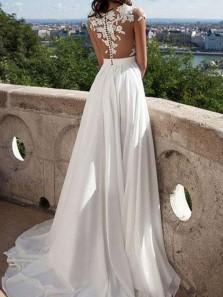 Elegant A-Line Jewel Cap Sleeve White Chiffon Long Wedding Dresses with Side Split