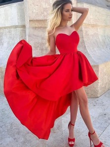 Unique A-Line Sweetheart Red Satin High Low Prom Homecoming Dresses