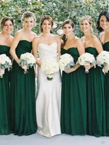 Elegant A-Line Sweetheart Dark Green Chiffon Long Bridesmaid Dresses Under 100
