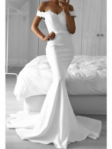 Mermaid Off the Shoulder White Satin Long Prom Dresses with Appliques,White Evening Party Dresses