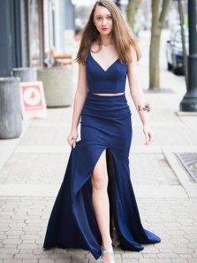 Mermaid Two Piece V Neck Navy Blue Satin Long Prom Dresses with Split,Evening Party Dresses