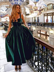 Vintage A-Line Sweetheart Straps Open Back Dark Green Velvet Floor Length Prom Dresses,1950s Party Dresses