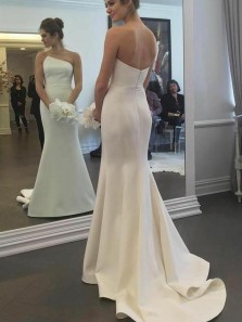 Unique Mermaid Irregular Neck Open Back Ivory Satin Long Wedding Dresses
