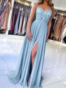 Chic A-Line Sweetheart Spaghetti Straps Open Back Blue Chiffon Appliques Long Prom Dresses with Slit,Evening Party Dresses 191114006