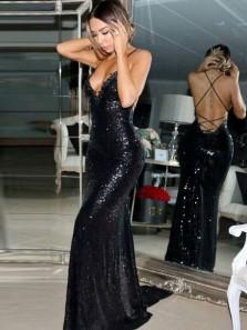 Sparkly Mermaid V Neck Cross Back Black Sequins Long Prom Dresses,Evening Party Dresses