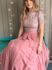 Gorgeous A-Line Round Neck Short Sleeve Pink Tulle Long Prom Dresses with Beading,Girls Junior Graduation Gown,Evening Party Dresses