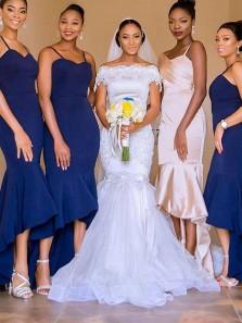 Bodycon Sweetheart Open Back Spaghetti Straps Royal Blue Elastic Satin High Low Bridesmaid Dresses Under 100