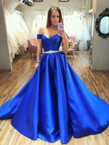 Charming A-Line Off the Shoulder Royal Blue Satin Prom Dresses with Belt