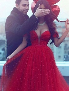A-Line Off the Shoulder Red Tulle Beaded Long Prom Dresses