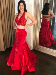 Two Piece V Neck Open Back Red Satin Long Prom Dresses with Appliques