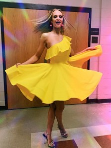 Unique A-Line One Shoulder Yellow Satin Short Prom Dresses with Ruffle,Short Homecoming Dresses