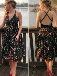 Pretty A-Line V Neck Cross Back Black Lace Tea Length Homecoming Dresses