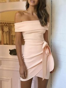 Simple Body con Off the Shoulder Pink Mini Homecoming Dresses Tight Evening Party Dresses