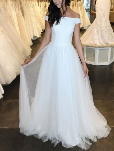 Simple A-Line Off the Shoulder White Tulle Satin Long Wedding Dresses
