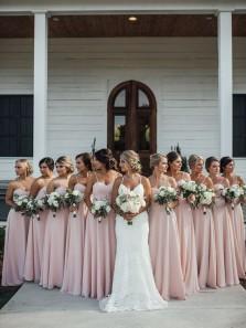 Simple A-Line Sweetheart Light Pink Chiffon Long Bridesmaid Dresses Under 100