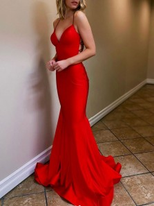 Sexy Mermaid V Neck Cross Back Red Satin Long Prom Evening Dresses,Formal Christmas Party Dresses