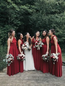 Simple A-Line Convertible Red Chiffon Bridesamaid Dresses Under 100