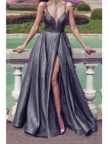 Sparkle A-Line V Neck Black Sequin Long Prom Evening Dresses with High Split,Formal Party Gowns