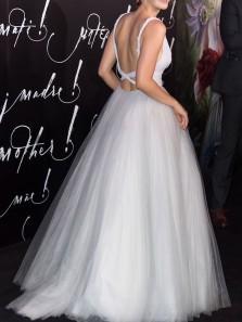Princess A-Line V Neck Cross Back White Tulle Prom Dresses,Wedding Dresses