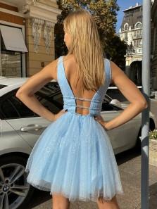 Shiny A-Line V Neck Open Back Blue Sparkly Tulle Short Homecoming Dresses