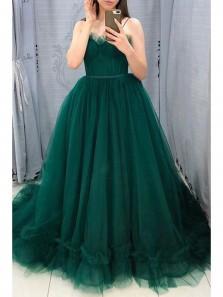 Cute A-Line Sweetheart Open back Dark Green Tulle Prom Dresses,Girls Junior Graduation Gown