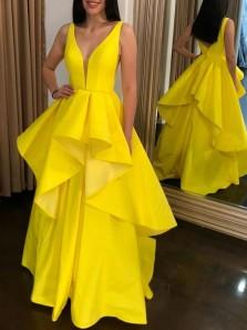 Unique A-Line V Neck Yellow Satin Tier Long Prom Evening Dresses