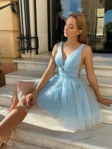 Shiny A-Line V Neck Open Back Blue Sparkly Tulle Short Homecoming Dresses