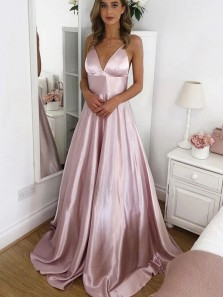 Simple A-Line V Neck Spaghetti Straps Blush Satin Long Prom Evening Dresses Under 100