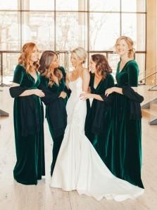 Gorgeous A-Line V Neck Short Sleeve Dark Green Velvet Long Bridesmaid Dresses